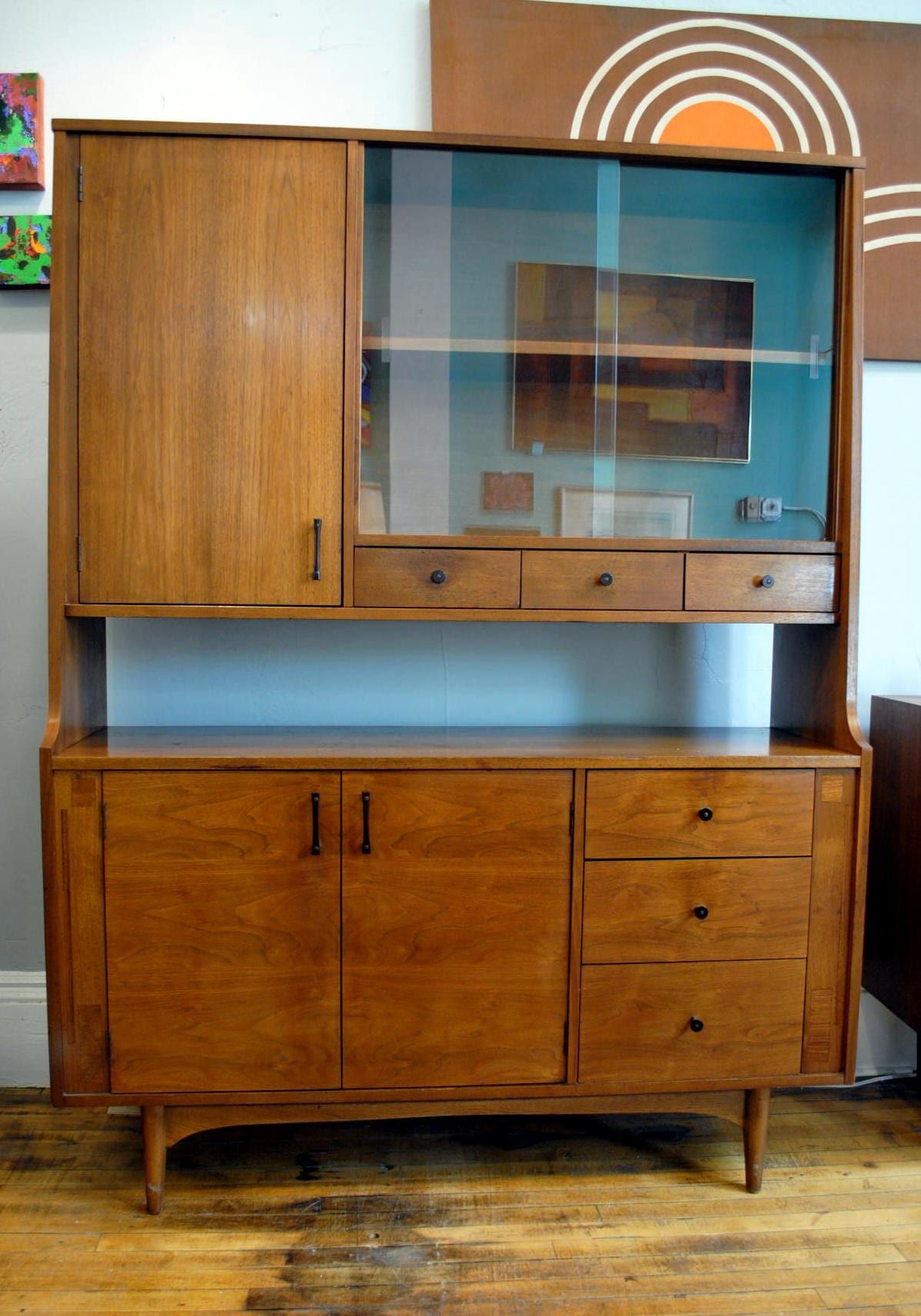1950 S Walnut Hutch By Kroehler Circa