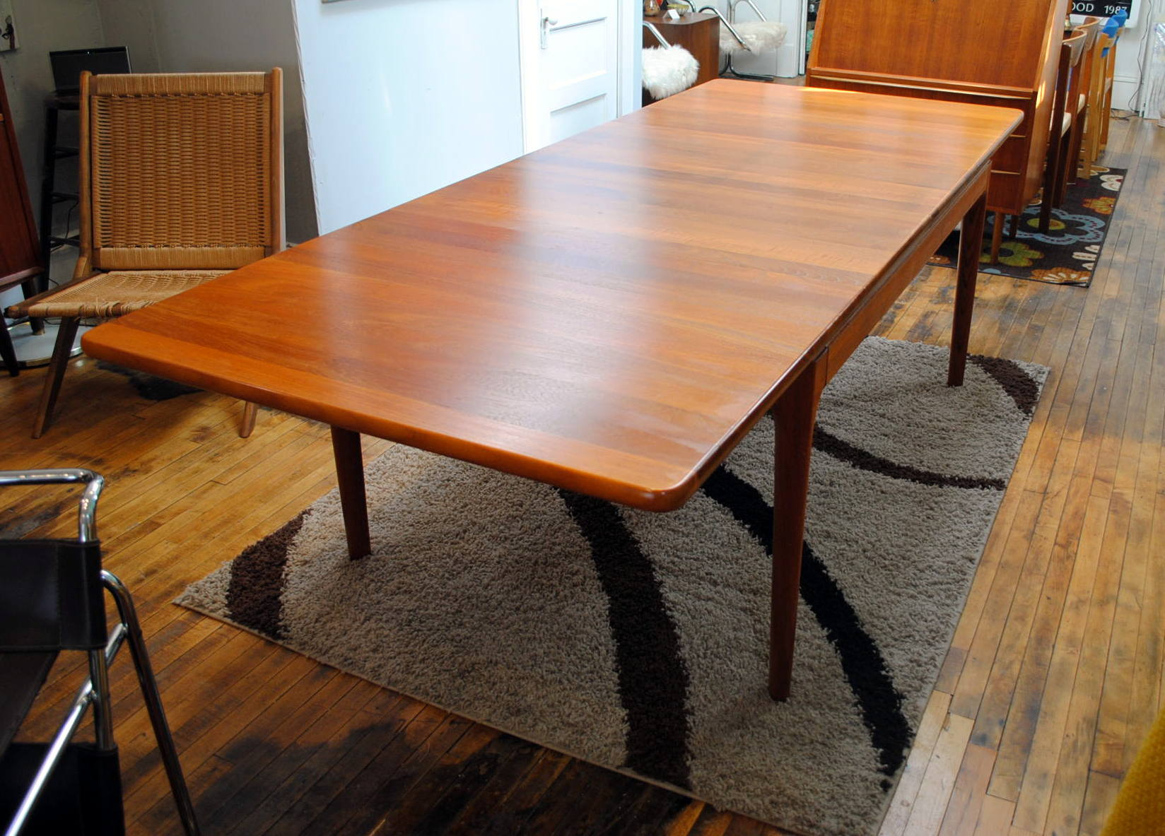 Danish Teak Dining Table Custom Solid Teak Circa