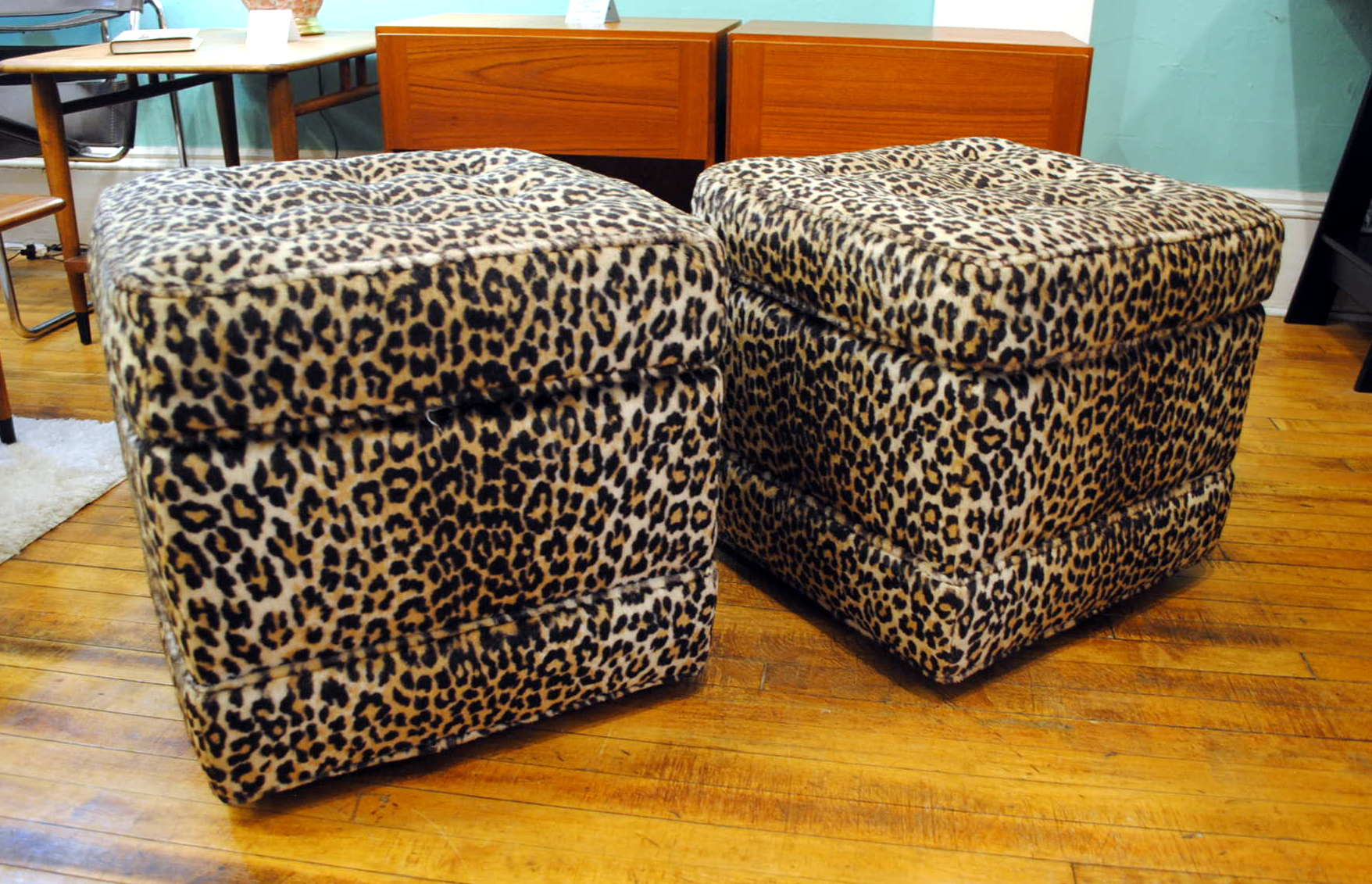 Pair Of Vintage Tufted Ottomans Leopard Print Circa