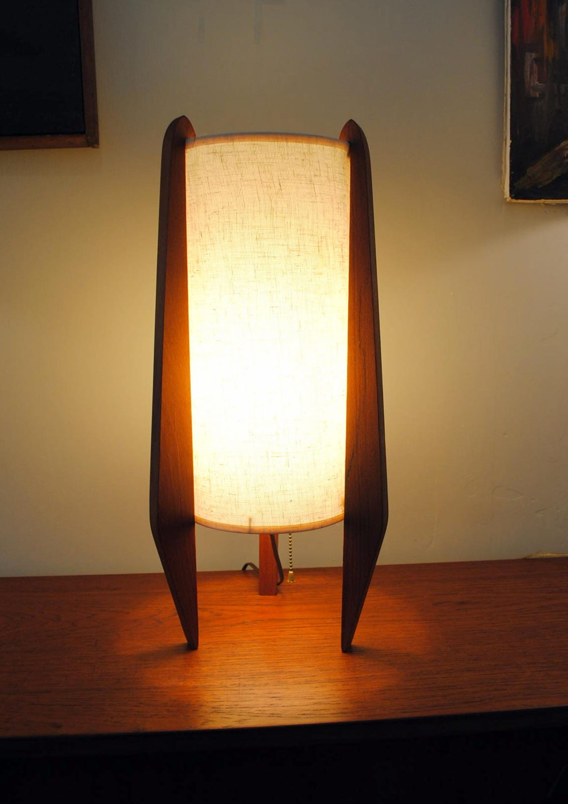 Mid Century Cylinder Table Lamp Circa