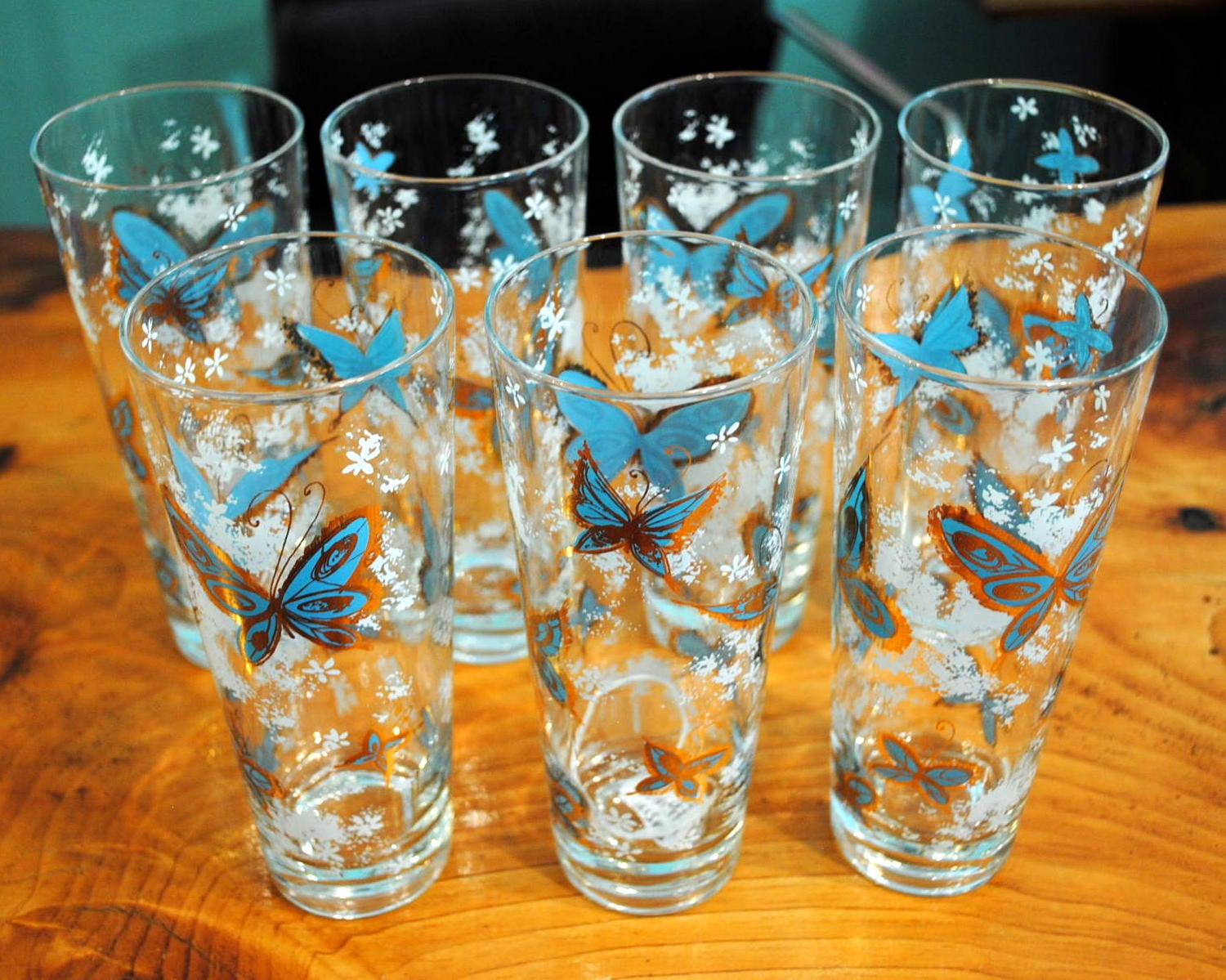 Vintage Butterfly Drinking Glasses-set of 7 | Circa