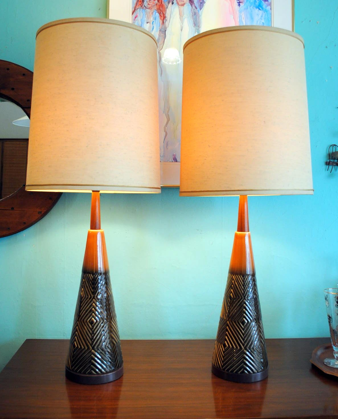 Pair 1960 S Cone Shaped Pottery Lamps Circa