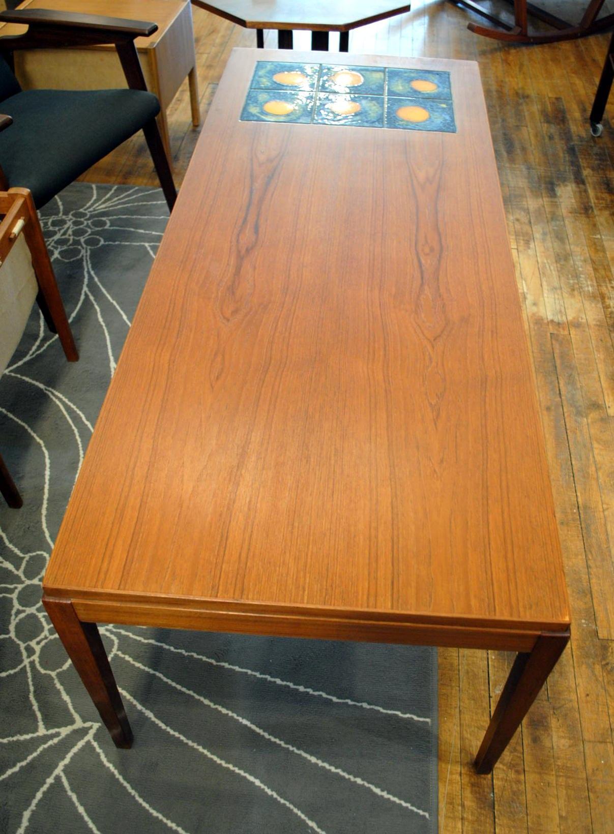 Danish Teak Coffee Table w/hand painted tile | Circa