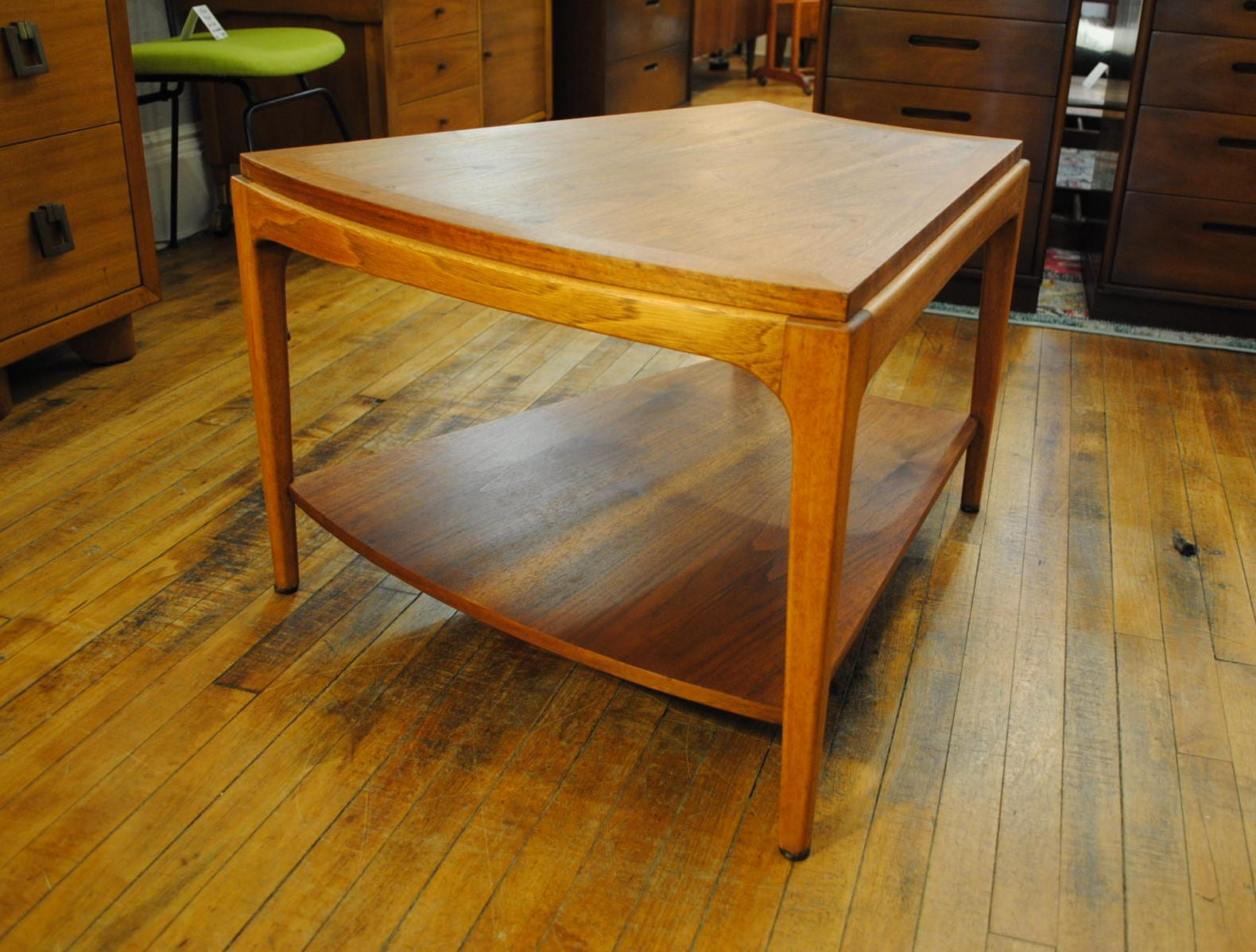 1960 S Walnut Wedge Shaped End Table By Lane Circa