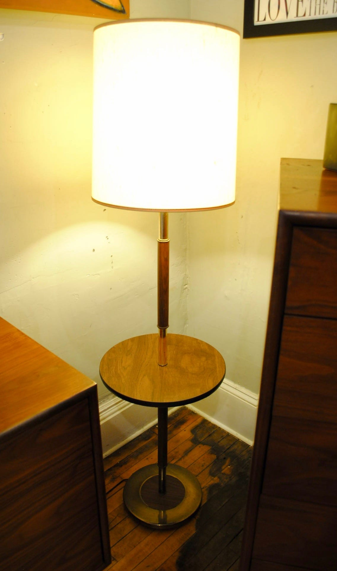 Mid Mod Floor Lamp With Attached Table Circa